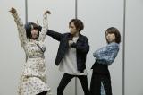 アニメ『ポンコツクエスト』シーズン5の放送決定を喜ぶ(左から)悠木碧、小野賢章、内田真礼