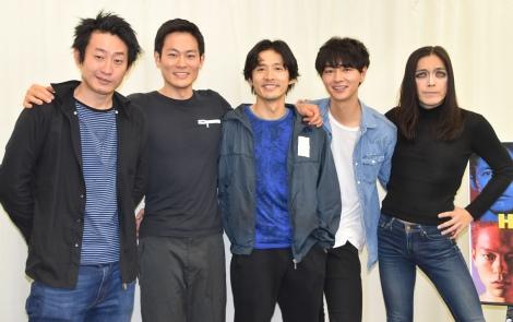 舞台『High Life』公開けいこ後の取材会に出席した(左から)谷賢一、伊藤祐輝、古河耕史、細田善彦、ROLLY (C)ORICON NewS inc.