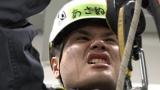 本気でロープワークの講習を受ける浅沼=3月29日放送、NHK総合『超体感!エクストリーム・ミッション』(C)NHK