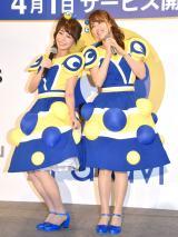 コラボダンスを披露した(左から)宇垣美里アナ、鷲見玲奈アナ (C)ORICON NewS inc.