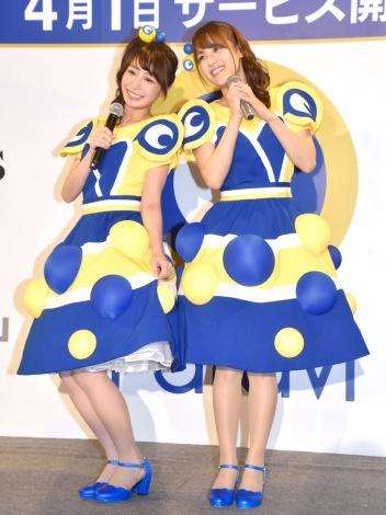 サムネイル コラボダンスを披露した(左から)宇垣美里アナ、鷲見玲奈アナ (C)ORICON NewS inc.