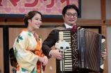 第2話「リリコのボディガード」より(左から) 風鳥亭高座で漫才をする秦野リリコ(広瀬アリス)と川上四郎(松尾諭)=『連続テレビ小説 わろてんか スピンオフ「ラブ&マンザイ」〜LOVE and MANZAI〜』4月21日放送(C)NHK
