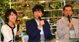 NHKの朝の情報番組『あさイチ』スタジオ会見に出席した (左から)近江友里恵アナ、博多大吉、博多華丸 (C)ORICON NewS inc.