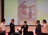 人力車を引くアルバイトをしていた並木万里菜さん=テレビ朝日の入社式の模様 (C)ORICON NewS inc.