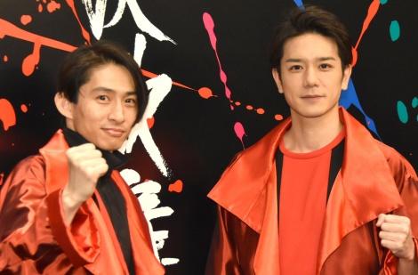新ユニット「KEN☆Tackey」で今夏CDデビューとなった(左から)三宅健、滝沢秀明 =滝沢歌舞伎2018』公開ゲネプロ後の囲み取材(C)ORICON NewS inc.