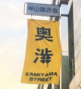 該当地域には「奥渋」の旗が並ぶ