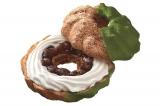 『ドーナツシュー 宇治抹茶あずき』(183円)ふんわりもっちりとしたシュー生地に、あずきとホイップクリームをサンドし、祇園辻利の宇治抹茶を使用した抹茶チョコでコーティングしました。