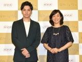 NHK・BSプレミアム『ボディーミュージアム』の合同取材会に出席した(左から)生田斗真、八木亜希子 (C)NHK