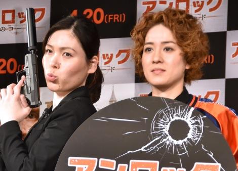 恋バナは進展なしと明かした尼神インター(左から)誠子、渚=映画『アンロック/陰謀のコード』公開直前イベント(C)ORICON NewS inc.