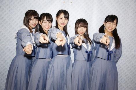 今夏の船上劇場出航が決まったSTU48(左から)藤原あずさ、土路生優里、瀧野由美子、薮下楓、磯貝花音