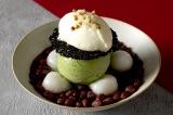 『白玉ぜんざい with グリーンティー』(単品980円/セット1480円)<おすすめのお茶:焼き芋ほうじ>上品な甘さのぜんざいにグリーンティーアイスが溶け合う。