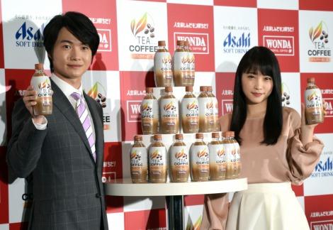 今回が初共演の(左から)神木隆之介、川栄李奈 =『WONDA TEA COFFEE』の新発売記念発表会(C)ORICON NewS inc.