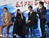 映画『OVER DRIVE』(6月1日公開)のスペシャルステージに出席した(左から)町田啓太、森川葵、東出昌大、新田真剣佑 (C)ORICON NewS inc.