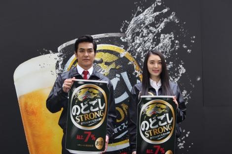 キリンの体験イベントに出席した俳優の北村一輝、女優の栗山千明 (C)oricon ME inc.