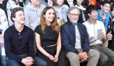 『レディ・プレイヤー1』トークイベントに出席した(左から)タイ・シェリダン、オリビア・クック、スティーブン・スピルバーグ監督、森崎ウィン (C)ORICON NewS inc.