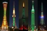5都市のシンボルタワーがSHINeeカラーに(左から神戸ポートタワー、名古屋テレビ塔、東京タワー、福岡タワー、さっぽろテレビ塔)