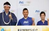 P&G「ママの公式スポンサー」東京2020オリンピック観戦チケットキャンペーン発表会に出席した(左から)松岡修造、前園真聖、小島瑠璃子 (C)ORICON NewS inc.