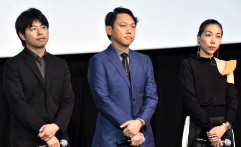 映画『ウタモノガタリ-CINEMA FIGHTERS project-』完成披露上映会の舞台あいさつに出席した(左から)石井裕也監督、Yuki Saito監督、安藤桃子監督