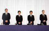 謝罪会見をおこなったTOKIO(左から)長瀬智也、国分太一、城島茂、松岡昌宏(C)ORICON NewS inc.