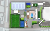 複合スポーツエンターテインメント施設『スポル品川大井町』俯瞰パース