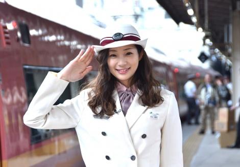 主演映画『キスできる餃子』の1日限定特別列車出発式に出席した足立梨花 (C)ORICON NewS inc.