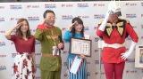 (左から)古川愛李、金児博幸郵便局長、潘めぐみ、ぬまっち (C)ORICON NewS inc.