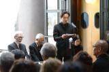 映画監督・高畑勲さんのお別れ会の模様=親族を代表して喪主の高畑耕介氏があいさつ