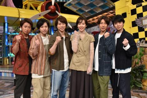 デスマッチ(?)に参戦して嵐を翻弄した木村佳乃(左から4番目)