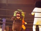 映画『ランペイジ 巨獣大乱闘』(5月18日公開)の試写会でゆるキャラたちが大乱闘=メロン熊 (C)ORICON NewS inc.