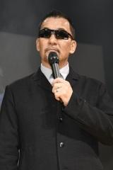 映画『ランペイジ 巨獣大乱闘』(5月18日公開)の試写会でゆるキャラたちが大乱闘=蝶野正洋