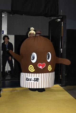 映画『ランペイジ 巨獣大乱闘』(5月18日公開)の試写会でゆるキャラたちが大乱闘=ねば〜る君