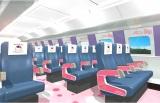 2号車「KAWAII!ROOM」(自由席)は座席や窓枠などもハローキティ仕様