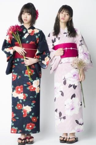 サムネイル 浴衣姿を披露した乃木坂46(左から)西野七瀬、齊藤飛鳥