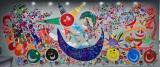 香取慎吾の作品=日本財団パラリンピックサポートセンターのキーメッセージ「i enjoy !」をテーマにオフィスのエントランスの壁に描かれた壁画(※ルーブル美術館での展示は未定)