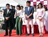 第4回『日本ワインMATSURI祭』オープニングセレモニーに出席した(左から)柿崎ゆうじ監督、伊藤つかさ、出合正幸、竹島由夏 (C)ORICON NewS inc.