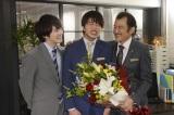 テレビ朝日系ドラマ『おっさんずラブ』がクランクアップ(左から)林遣都、田中圭、吉田鋼太郎(C)テレビ朝日