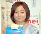 1年で8センチ伸びましたと笑顔を見せる谷花音=『「明治おいしい牛乳」東京2020オフィシャル牛乳』発表イベント(C)ORICON NewS inc.