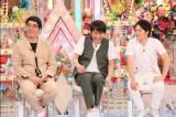 6月1日放送、テレビ朝日系『金曜★ロンドンハーツ』わかってないダンナGPは誰?(左から)おぎやはぎの小木博明、千原ジュニア、おばたのお兄さん(C)テレビ朝日