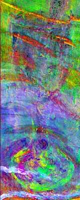 『海辺の母子像』(部分)近赤外線ハイパースペクトル主成分分析擬似色彩画像 (C) John Delaney, National Gallery of Art, Washington