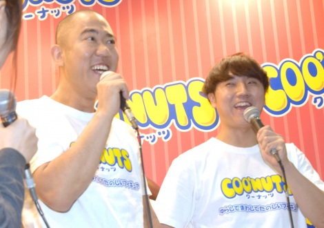 『東京おもちゃショー』のバンダイブースに登場したコロコロチキチキペッパーズ(左から)ナダル、西野創人 (C)ORICON NewS inc.