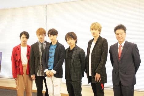 製作発表会に出席した(左から)SHUN、加藤良輔、カラム、米原幸佑、碕理人、錦織一清 (C)oricon ME inc.