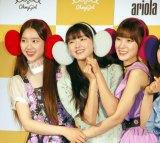 (左から)ジホ、ユア、アリン=「OH MY GIRL BANHANA」日本デビュー記者会見 (C)ORICON NewS inc.