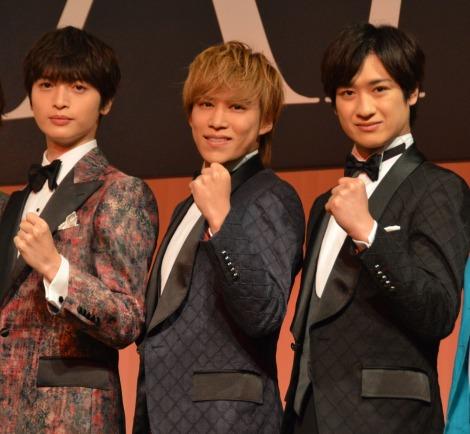 舞台『ドリームボーイズ』製作発表に出席した(左から)玉森裕太、千賀健永、宮田俊哉 (C)ORICON NewS inc.