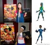『インクレディブル・ファミリー』日本語吹き替え版声優を務める小島瑠璃子、サンシャイン池崎 (C)2018 Disney/Pixar. All Rights Reserved.