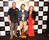 『FENDER CUSTOM SHOP EXHIBITION』でトークショー(左から)ポール・ウォーラー、ハマ・オカモト、ホセフィーナ・カンポス (C)ORICON NewS inc.