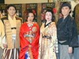 創作舞踊『裁SAI カルメン2018』囲み取材に出席した(左から)中村橋之助、市川ぼたん、水木佑歌、花柳寿楽