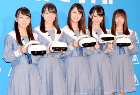 『VRCC(VR Cinema Consortium)』の概要発表会に出席したSTU48(左から)石田みなみ、今村美月、田中皓子、土路生優里、薮下楓 (C)ORICON NewS inc.