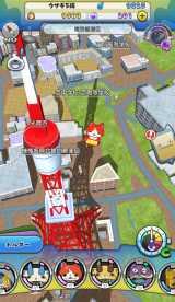 『妖怪ウォッチ ワールド』プレイ画面に表示される東京タワー