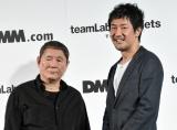 大型デジタルアート空間「チームラボ プラネッツ TOKYO DMM.com」先行内覧会に出席した(左から)北野武、チームラボ代表の猪子寿之氏 (C)ORICON NewS inc.