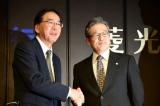 過去に日本振興銀行の社長として、ドラマと同じような記者会見をした経験があるという江上氏(C)テレビ東京